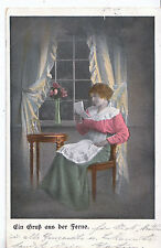 Glamour Postcard - Young Lady Sat On Chair - Reading A Letter    MB1824