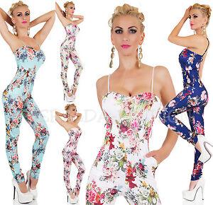 Hot-sexy-overall-onesie-Jumpsuit-traje-de-pantalon-geblumt-34-38