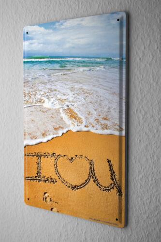 Blechschild Jorgensen Fotografie Herz Liebe I Love you Strand Sand Meer Wellen