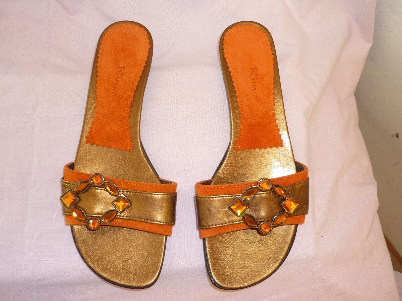 NEU  Rimo-glamouriose Orange Pantolette Leder-Futter m.Strass-Brosche Gr.37 Abs.