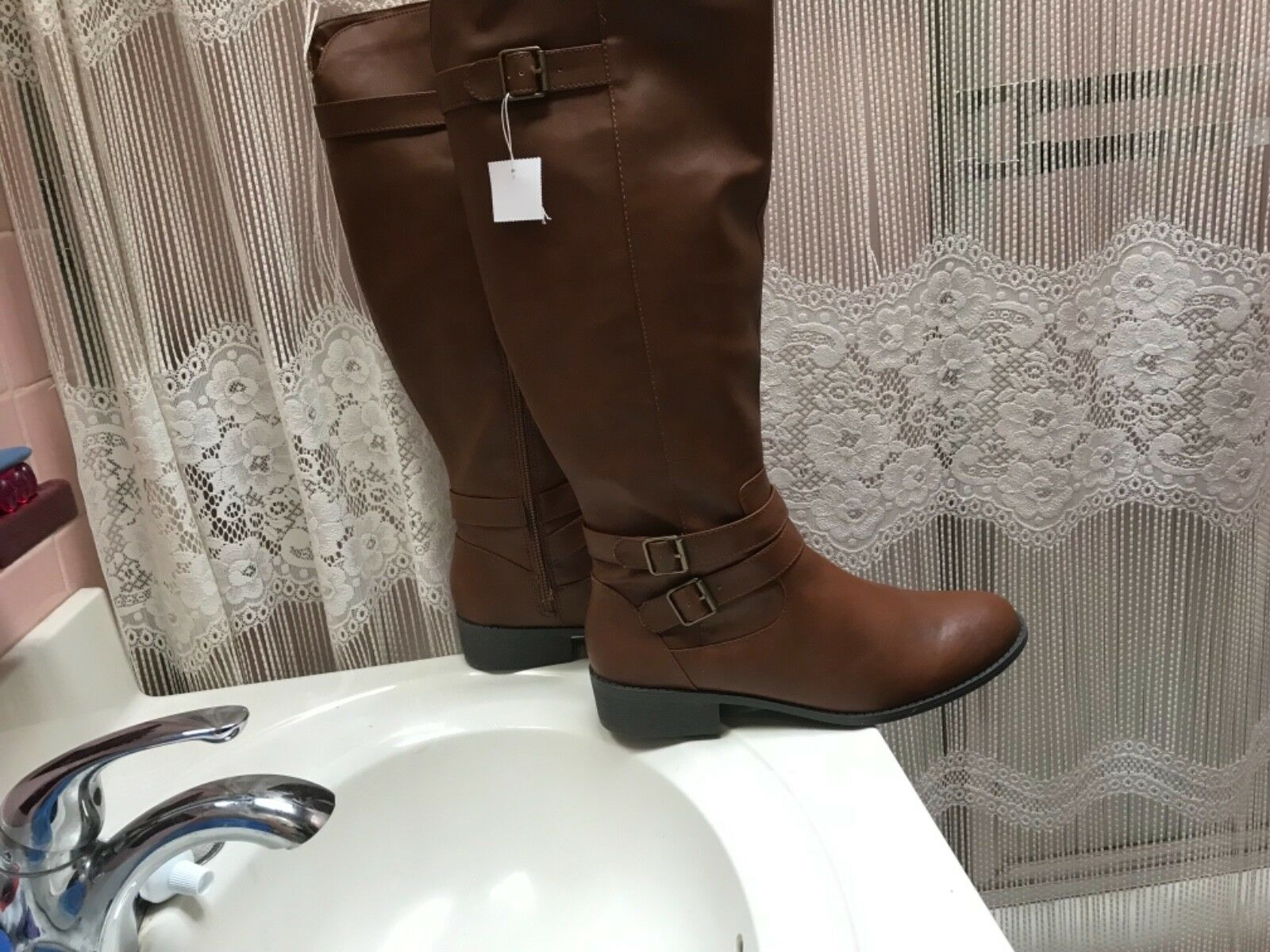 American Eagle Cognac Leather Knee High Boots Size 12 Brand New Maggie
