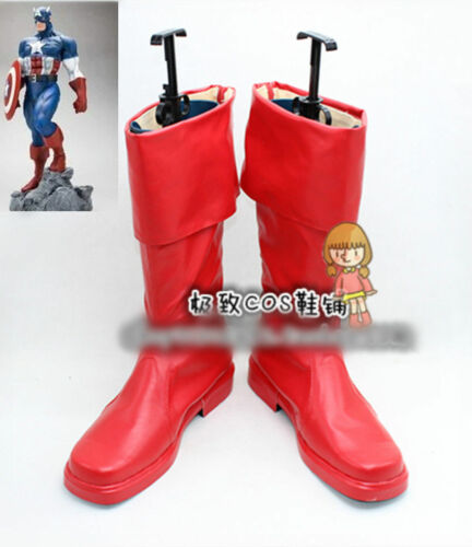 Captain America First Avenger Steve Rogers Halloween Cosplay Shoes Boots HH.153