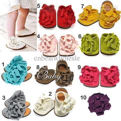 Baby girl/toddler 100% Algodón Playa sandals/pram Cuna Zapatos Muchos Colores