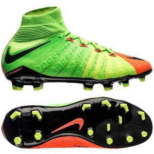 debc1345b27 Nike Jr Hypervenom PHANTOM 3 DF FG Green Orange Soccer Cleats 882807 ...