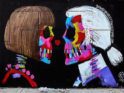 ART PRINT POSTER PHOTO GRAFFITI MURAL STREET SKULL WIG LOVE NOFL0325
