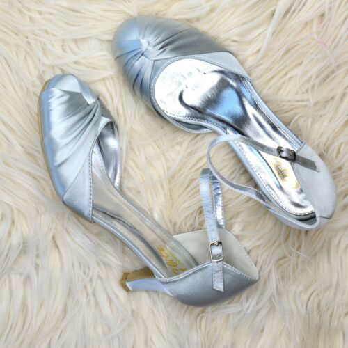 Women/'s Bridesmaid Shoes Low Comfy Kitten Heel Satin Mary Jane Ankle Strap New