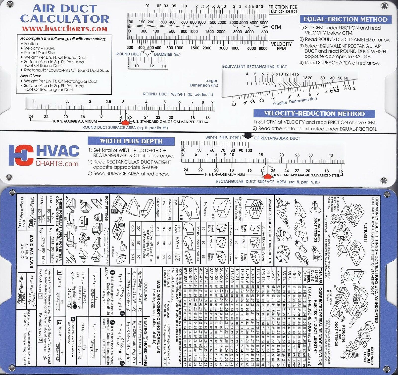 Air Duct Sizing Calculator Slide Chart HVAC Ductulator