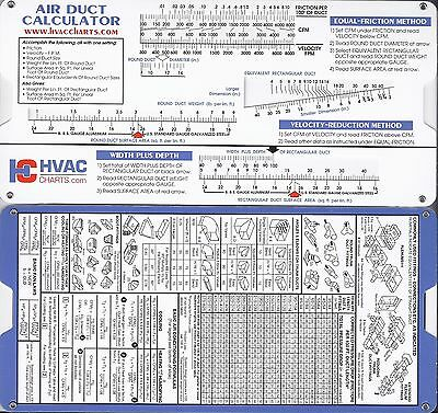 Ductulator Duct Sizing Calculator Slide Chart Graph