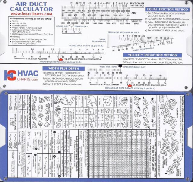 air duct sizing calculator slide chart hvac ductulator ebay