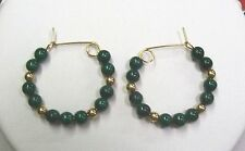 Malachite Hoop Earrings With 14K Gold Filled. One Inch in Diameter.