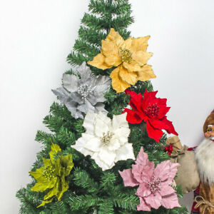 Details about 28cm Christmas Large Glitter Flowers Xmas Tree Hanging  Wedding Party Decorations