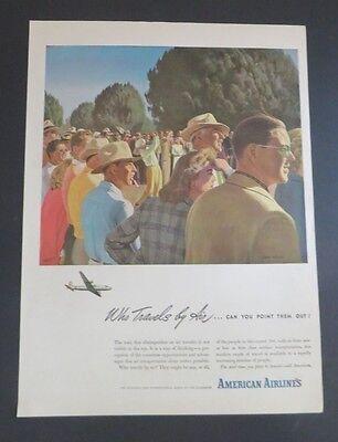 1940-49 Humble Original Print Ad 1946 American Airlines Who Travels By Air John Falter Art Advertising-print