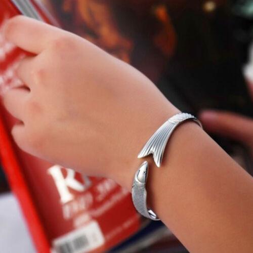 Retro Style Women Cuff Silver Plated Charm Opened Fish Bracelet Bangle Jewelry