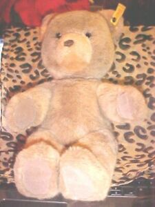 "Steiff Original Bear 12"" SEATED Stuffed Animal Plush 0205/35 Light Brown EAR TAG"