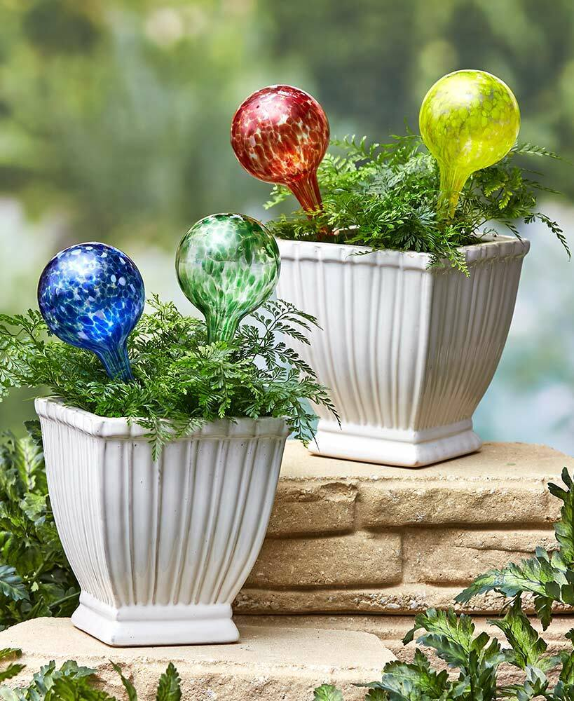 Set of 4 Colorful Blown Glass Self Watering Planter Globes
