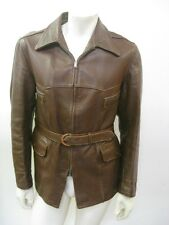 Vintage 1940s Brown Belted Leather Motorcycle Jacket Size 42