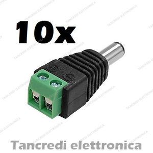 10x-CONNETTORE-ALIMENTAZIONE-MASCHIO-AD-INNESTO-RAPIDO-MORSETTO-CONNETTORI-VITE