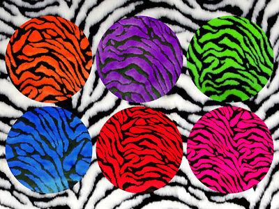 "Tiger Zebra Short Pile 60/"" Faux Fur Fabric Orange Blue Red Purple Lime Pink"