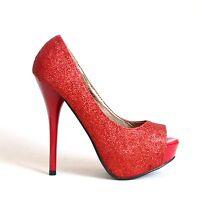 Plateau High Heels Stilettos Pumps Sandaletten 37 Rot Damen Schuhe Neu 7088-P