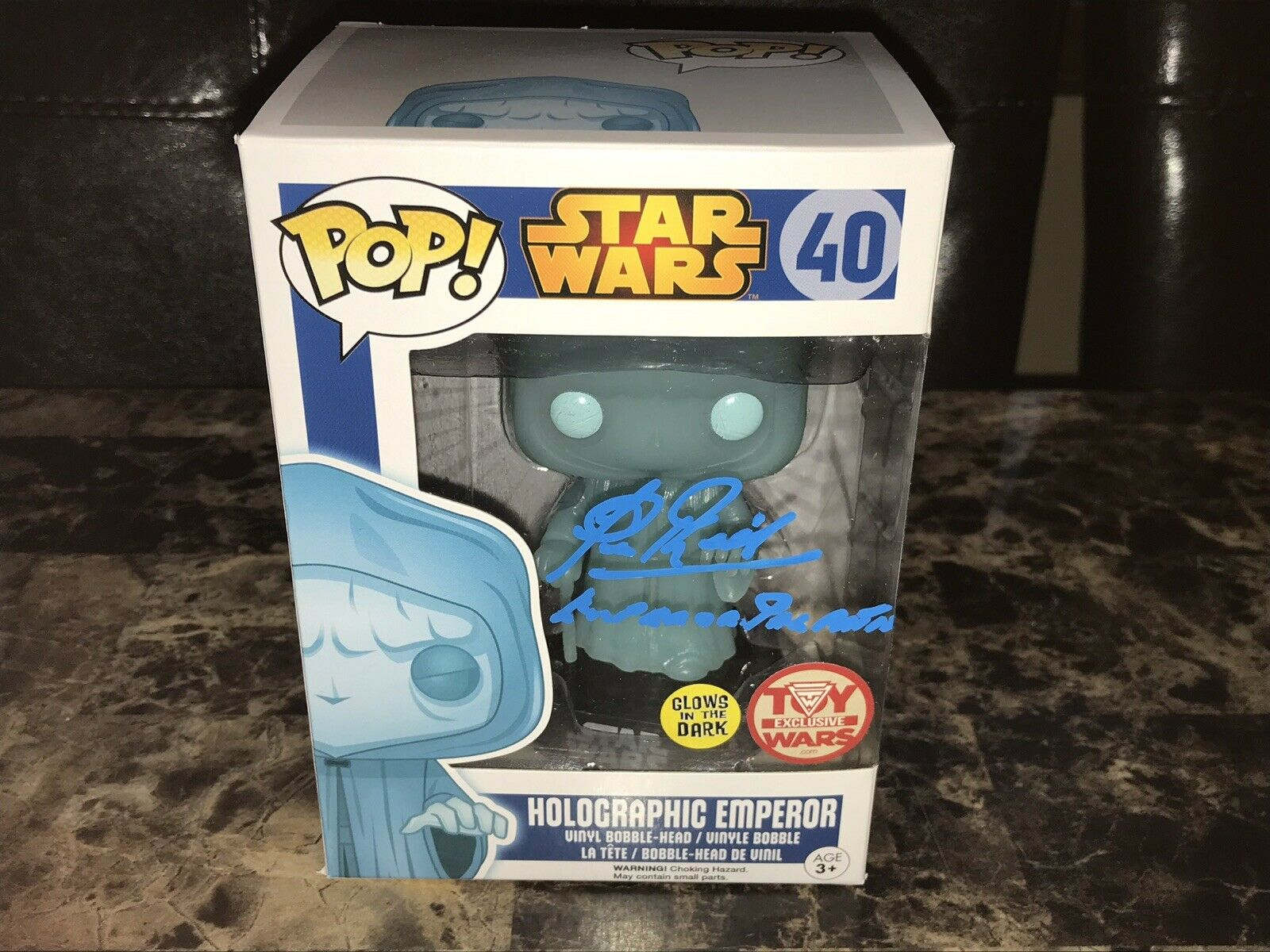 Star Wars Holographic Emperor Signed Funko Pop Vinyl Action Figure Clive Revill