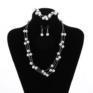 Image Is Loading Silver Plated Necklace Earring Bracelet Set Women Engagement