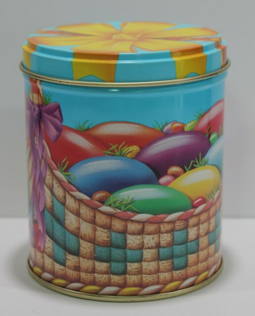Vintage Tin Can Easter Eggs Basket Candy Storage Container