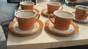 Set-Of-5-Vintage-Premiere-Dura-Stone-Cups-and-Saucers-Melba-P9251-Japan
