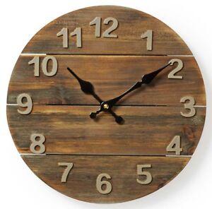 Moderne-Holz-Wanduhr-A91-Vintage-Retro-Rustikal-Grosse-Wand-Uhr-Rund-Analog-Gross