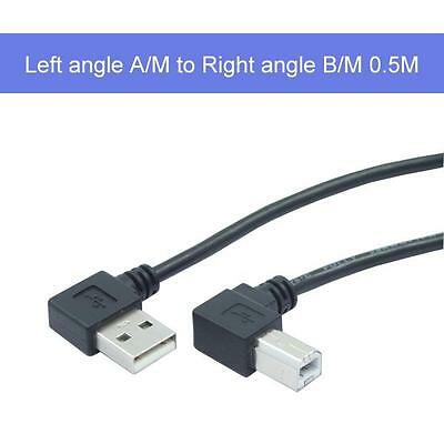 side entry left angle USB A to  right angle USB B 0.5M
