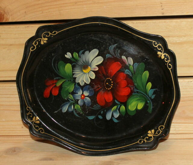 Vintage hand painted floral metal tole plate tray
