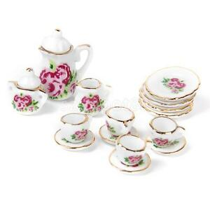 Image is loading 15pcs-Rose-Pattern-1-12-Dolls-House-Miniature-  sc 1 st  eBay & 15pcs Rose Pattern 1:12 Dolls House Miniature Coffee Tea Cup Plate ...