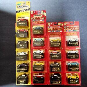 Lote-de-19-Vintage-Edicion-de-Coleccionistas-de-clase-mundial-de-Caja-de-coincidencia-coches-90s
