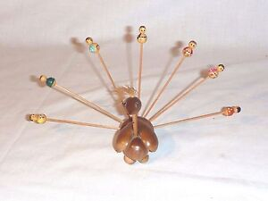 Vtg Mid Century Wooden Peacock Hors deourves Appetizer Pick w/ Little People