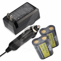 Two Battery + Wall&home&car Charger For Olympus Camedia C-100 C-120 C-150 Camera