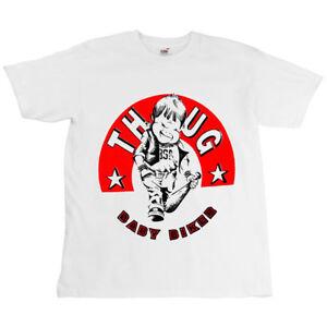 Childrens-Motorcycle-White-T-shirt-Tshirt-THUG-Baby-Biker