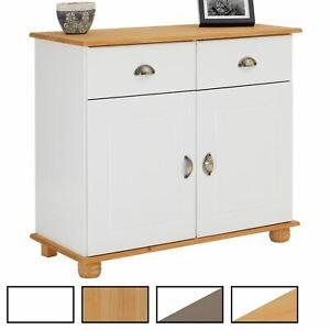 Buffet commode vaisselier avec rangement 2 tiroirs et 2 portes en pin massif