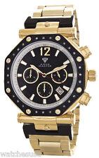 Aqua Master Men's Black Dial Gold Tone Octagon Chronograph Diamond Watch W#147