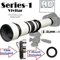 Series-1 Vivitar 650-1300mm Telephoto Zoom For Canon Eos Rebel T3 T3i T5i T5