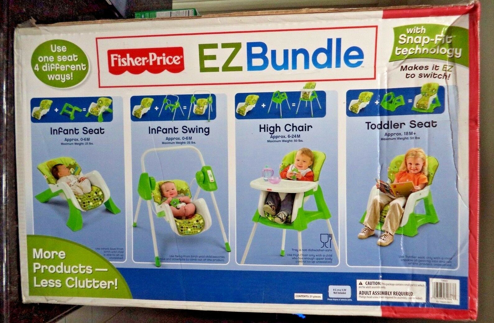 FISHER PRICE EZ BUNGLE SWING HIGH CHAIR + 4 IN 1 SNAP-FIT TECH T3643  NEW