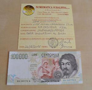 LIRE-100000-CARAVAGGIO-1994-II-TIPO-RARA-SOSTITUTIVA-XA-certificata-SPL-SUPERBA