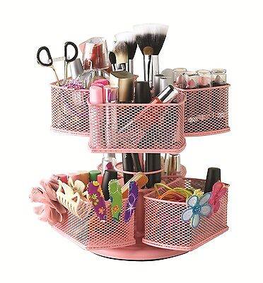 Make Up Makeup Cosmetics Organizer Carousel Vanity Table Hair Accessories Pink
