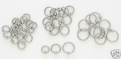 "1 PAIR Steel Captive Rings CBR 18g 1//4/"" Tragus Hoop Ear Lip Nose Eyebrow Piercin"