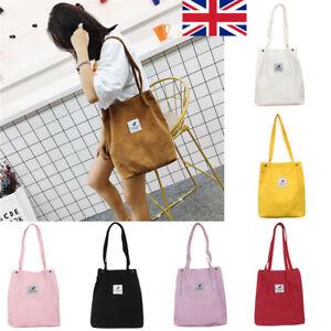 ca5a79018f06 Details about Women Durable Canvas Tote Large Capacity Handbag Corduroy  Casual Shoulder Bag UK