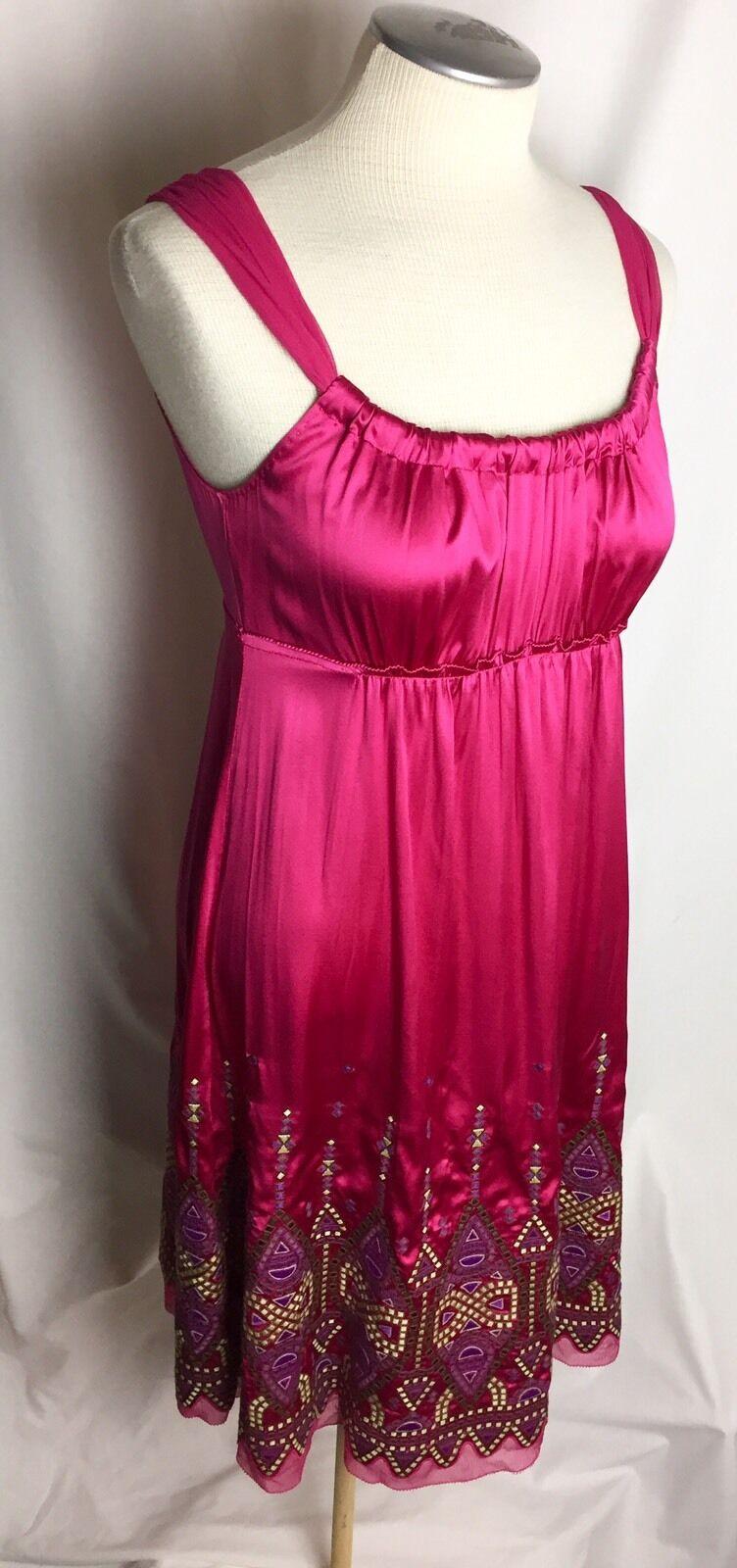 NWT ELIE TAHARI Silk Magenta Rosa Embroiderot Dress Größe 2