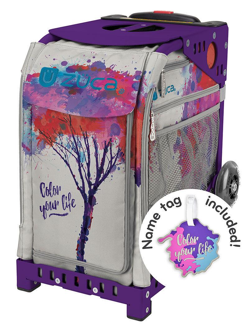 ZUCA Bag COLOR YOUR LIFE Insert & Purple Frame w Flashing Wheels - FREE CUSHION