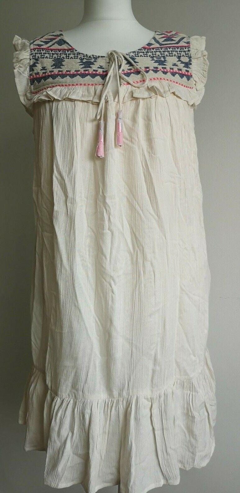 Monsoon Accessorize Beautiful Womens Beach Summer Lined Cream Dress Size M BNWT