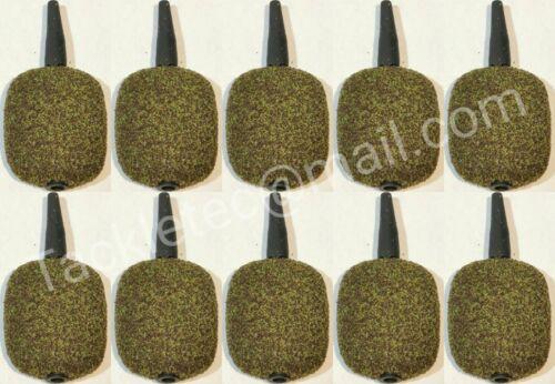 10 x 2oz 3.5oz Inline Flat  Square Leads MUDDY GREEN TEXTURED Carp Leads