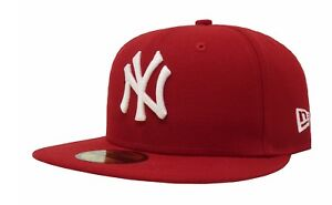 New Era 59Fifty Cap MLB New York Yankees Mens Womens Scarlet Red ... 502828c9717