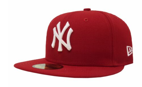 New Era 59Fifty Cap MLB Team New York Yankees Mens Scarlet Red Fitted 5950 Hat