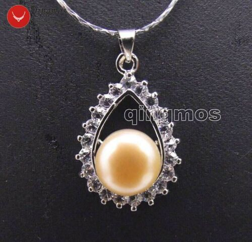 """Pink 10-11mm Flat Round Pearl 18*26mm Drop Pendant Necklace for Women 17/"""" Chain"""